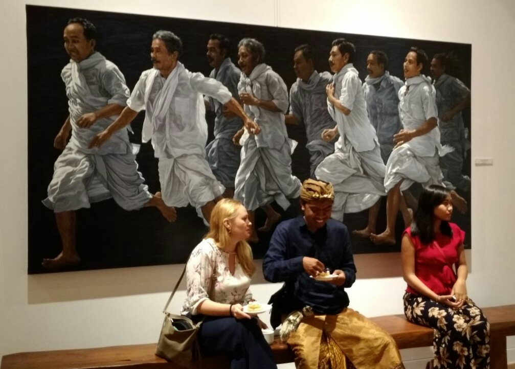 One of the painting at treasure exhibition in griya santrian gallery, sanur. Bali picture news