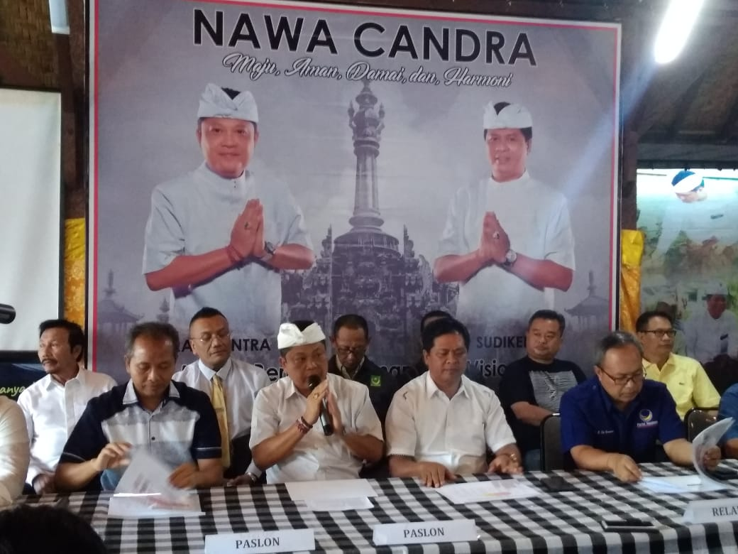 Mantra - Kerta held press conference related to quick count result of Bali gubernatorial race.