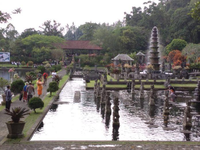 Tourists visited Ujung Water Palace at Karangasem Regency.