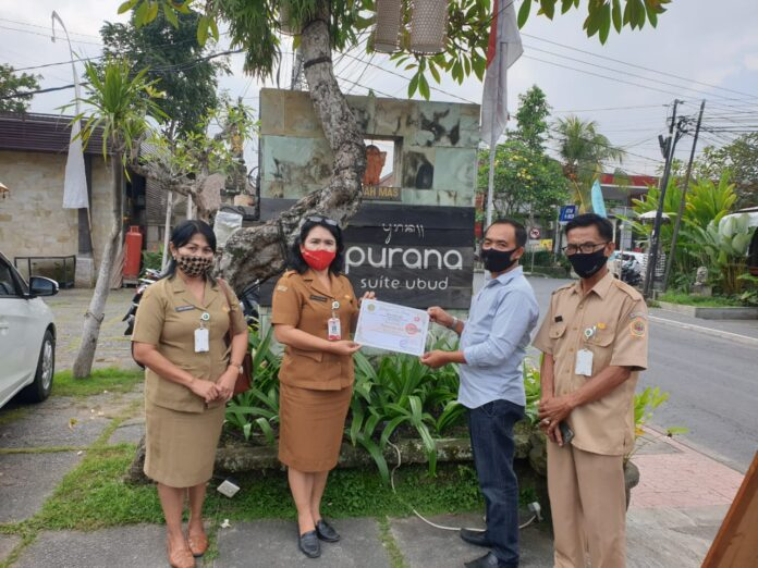 Purana Suite Ubud receives health protocols certificate from Gianyar Tourism Office, Monday, August 10.