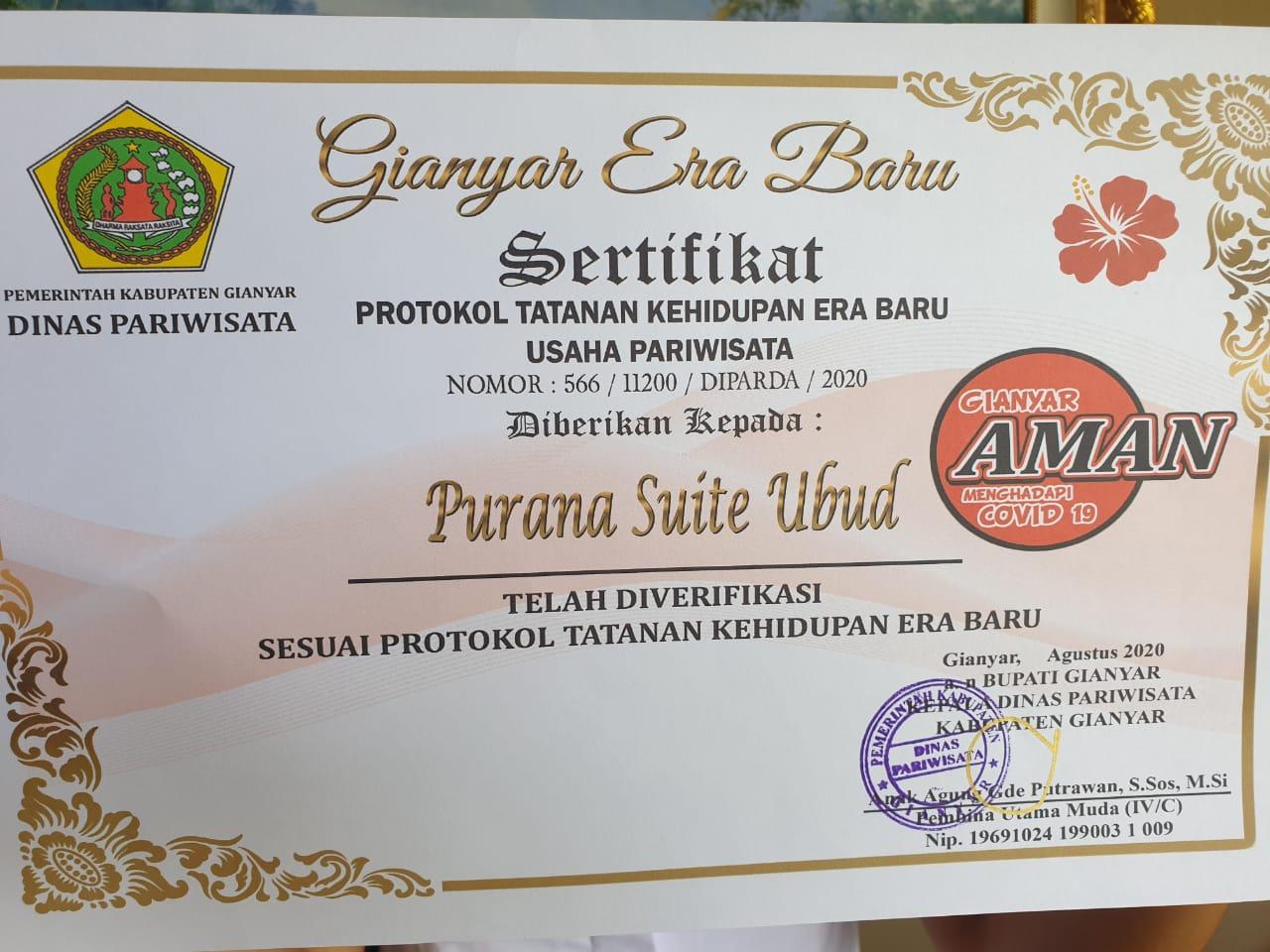 New Normal Certificate for Purana Suite Ubud.