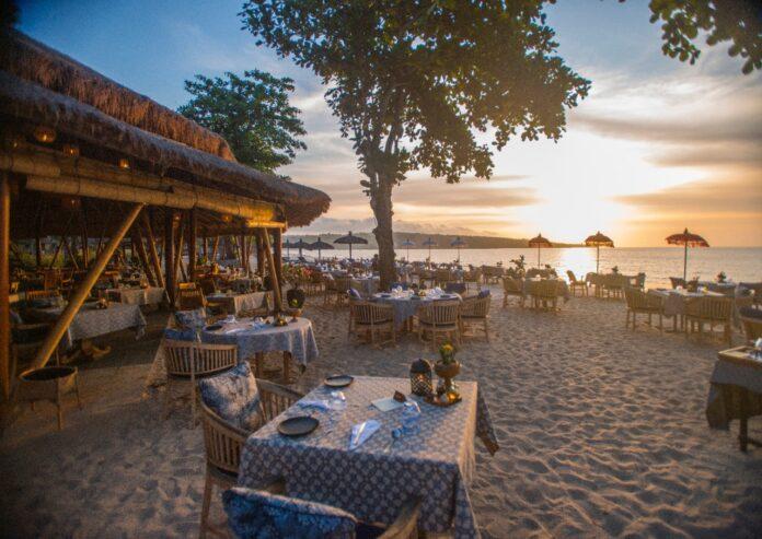 Sunset at Nelayan Restaurant, Belmond Jimbaran Puri.