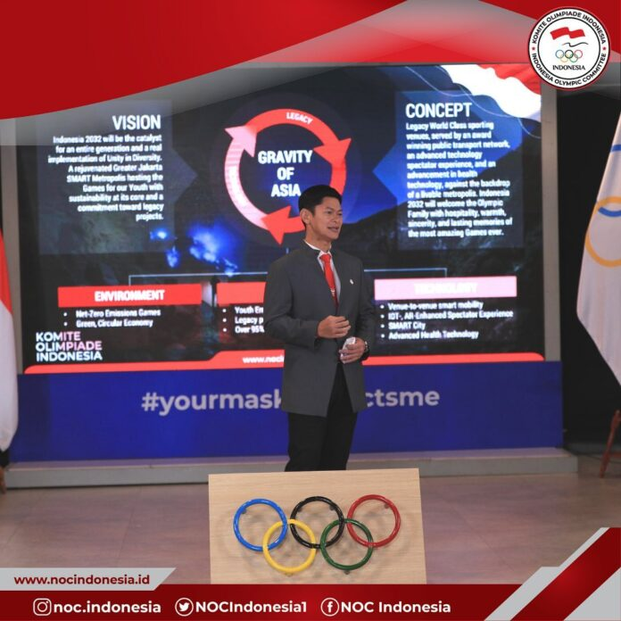 The Indonesian Olympic Committee President, Raja Sapta Oktohari, during the presentation for 2032 Olympic bidding. (Picture: NOC Indonesia)